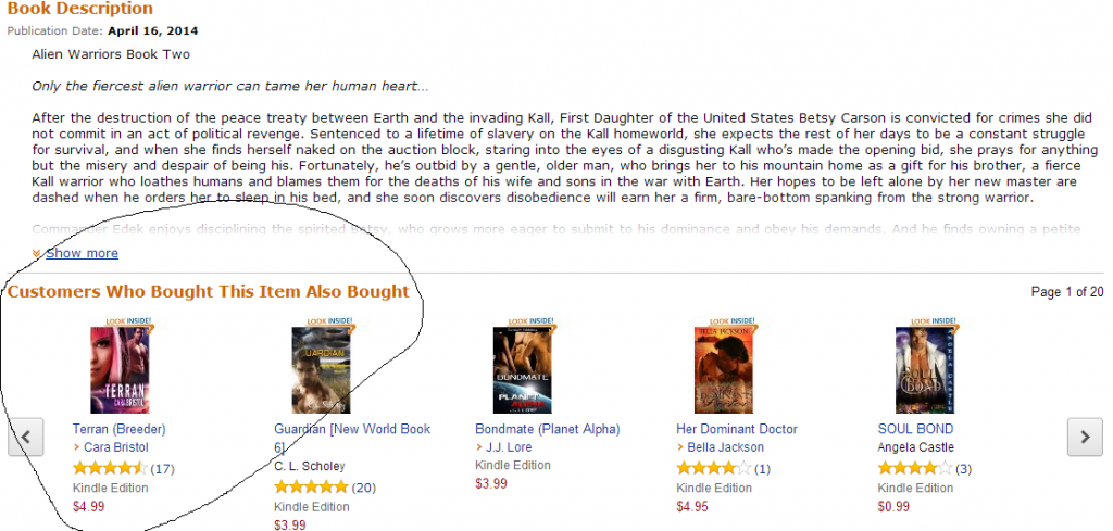 This the the listing for Sue Lyndon's book, Commander's Slave, but look. Here's MY book being recommended.