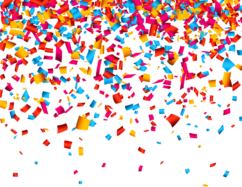 Colorful celebration background with confetti. Vector Illustrati