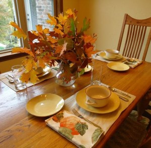 table setting with leaves for bkog